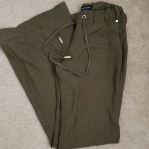 Marciano olive green linen pants